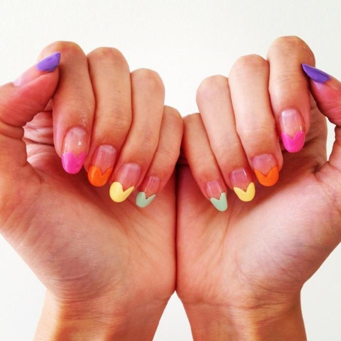 nagellack ideen farbig lange nägel frische maniküre sommerlich