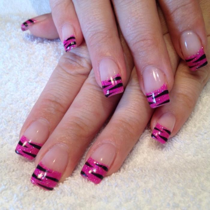 nagellack ideen französische maniküre rosa schwarz