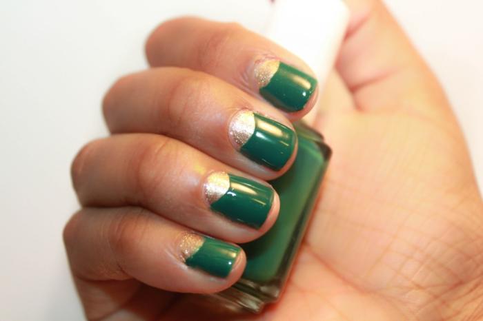 nagellack ideen grün golden kombinieren