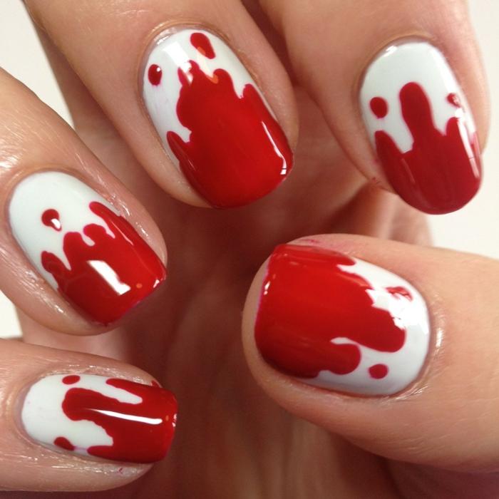 nagellack ideen nageldesign rot weiß