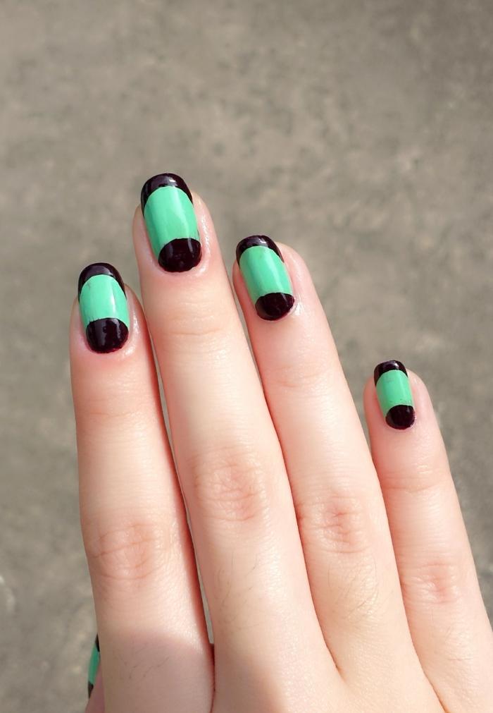 nagellack ideen lange nägel grün schwarz