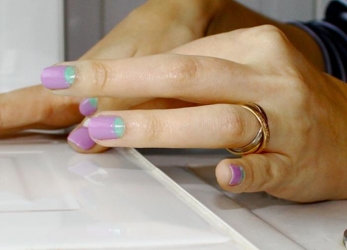nagellack ideen mond technik farbig lila hellgrün
