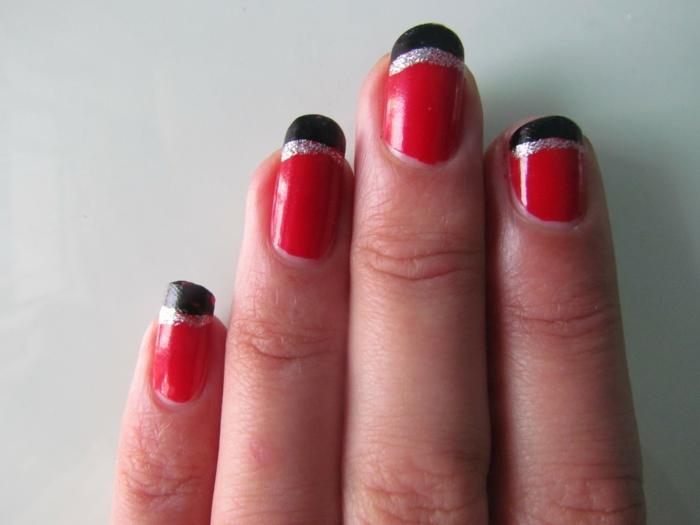 nagellack ideen rot schwarz französische maniküre