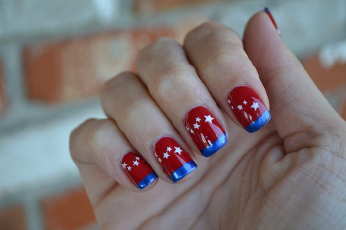 nagellack ideen rote nägel weiße sterne blaue streifen