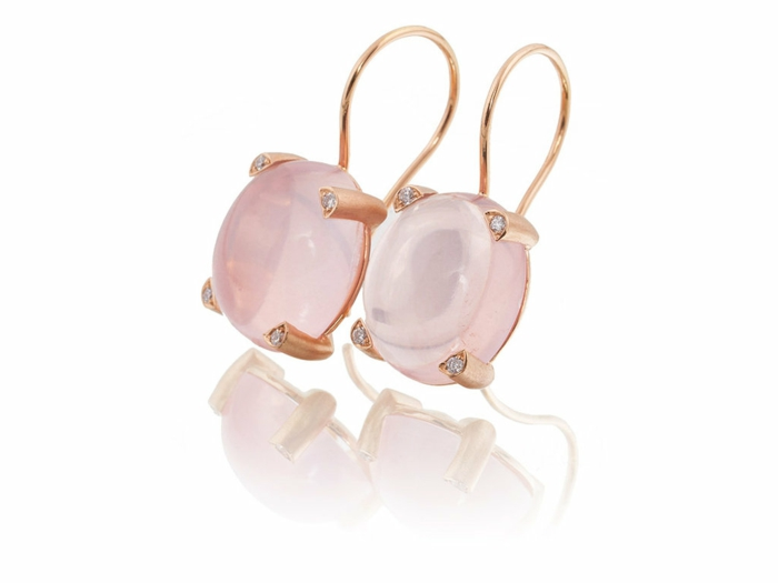 ohrringe rosegold rose quartz diamanten ohrhänger