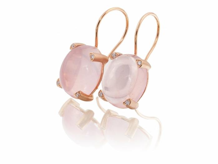 ohrringe rosegold rose quartz diamanten ohrhänger