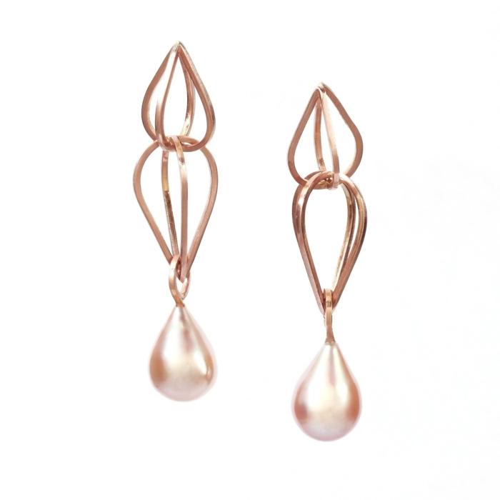 ohrringe rosegold tränne form perle