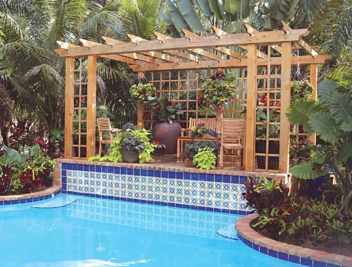 pergola bauen freibad