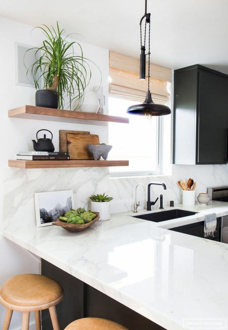 Schöne küchen bilder küchenideen küchenhalbinsel wandregal