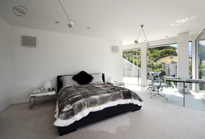 schlafzimmer einrichten beispiele arbeitsbereich weiße wände