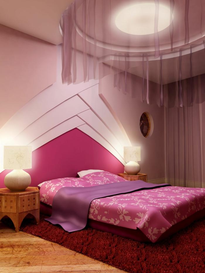 schlafzimmer einrichten beispiele ausgefallenes bettkopfteil roter teppich rosa wand