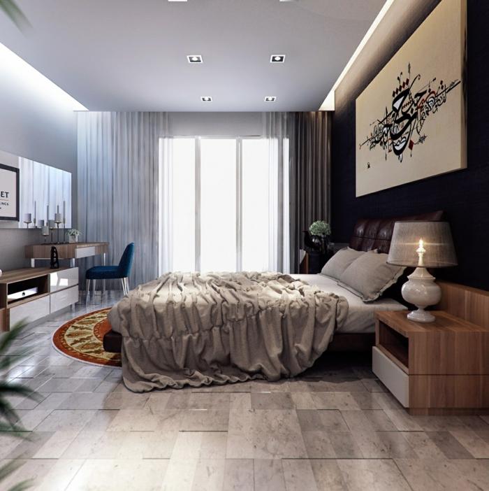 schlafzimmer einrichten beispiele bodenfliesen dunkle akzentwand runder teppich