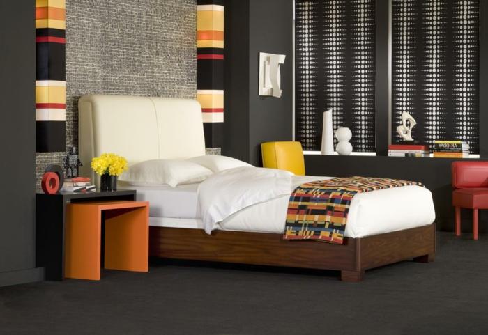 schlafzimmer einrichten beispiele bunte akzente grauer bodenbelag
