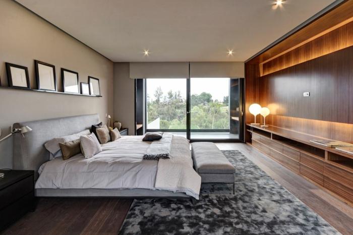 schlafzimmer einrichten beispiele leuchten wandregal eleganter teppich