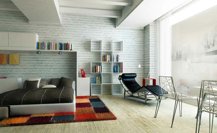 schlafzimmer einrichten beispiele farbiger teppich steinwand regale ...
