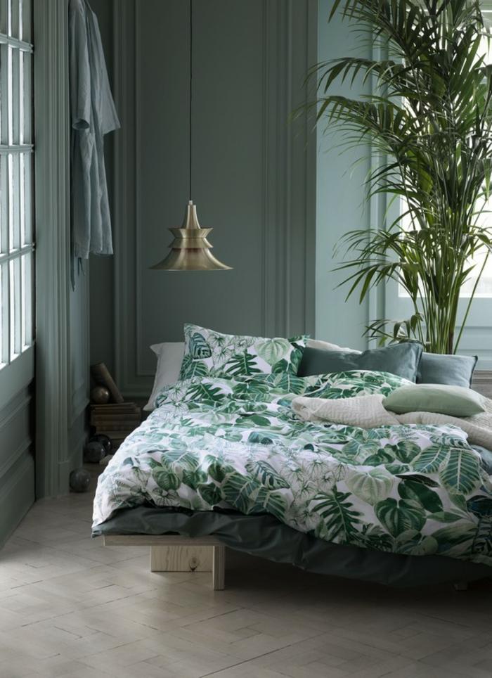 schlafzimmer einrichten beispiele frische bettwäsche pflanze