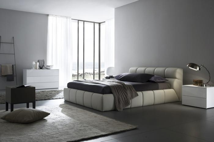 schlafzimmer einrichten beispiele graunuancen teppich fenster