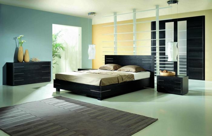 schlafzimmer einrichten beispiele hellgrüne wände blumen teppich
