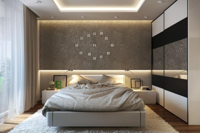 schlafzimmer einrichten beispiele luxuriöse wandgestaltung wanduhr teppich