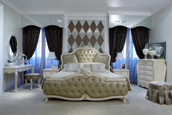 schlafzimmer einrichten beispiele luxuriöses bett elegante gardinen braun