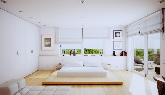 schlafzimmer einrichten beispiele minimalistisch weiße wände glastüren eingebauter kleiderschrank