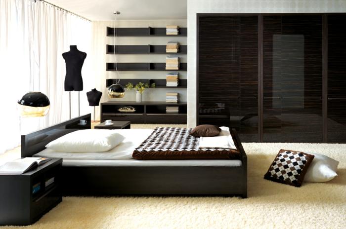 schlafzimmer einrichten beispiele moderner kleiderschrank spiegeloberfläche