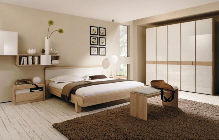 schlafzimmer einrichten beispiele neutrale farben schlafzimmerbank regale