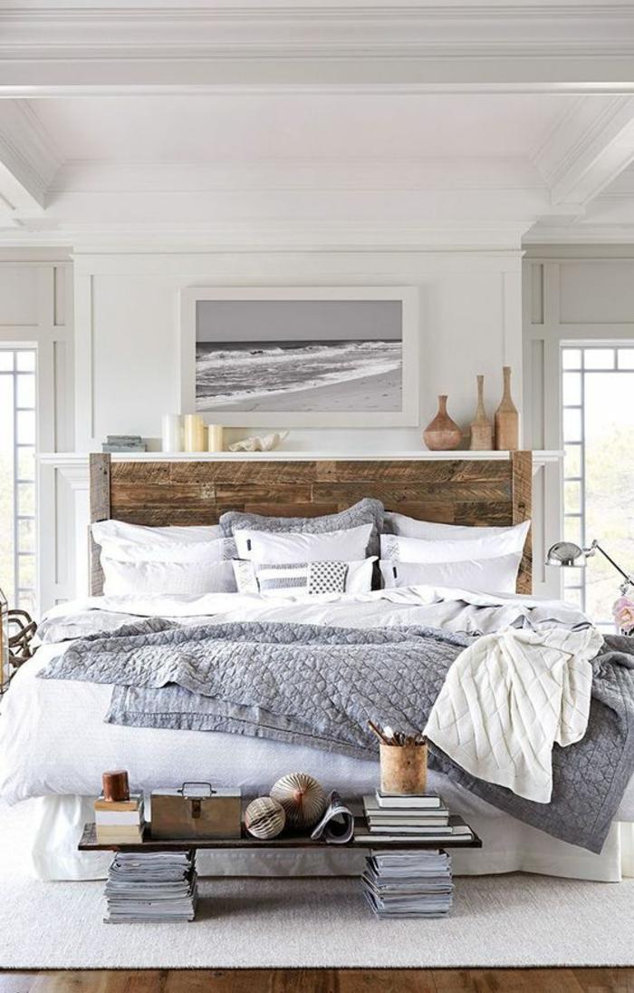schlafzimmer einrichten beispiele rustikales bettkopfteil weißer teppich kreative ideen