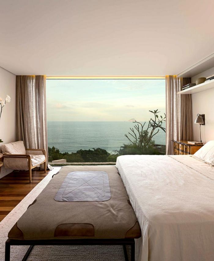 schlafzimmer einrichten beispiele schlafzimmerbank panoramafenster