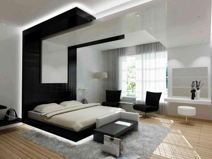 schlafzimmer einrichten beispiele schwarze akzentwand hinter bett grauer teppich