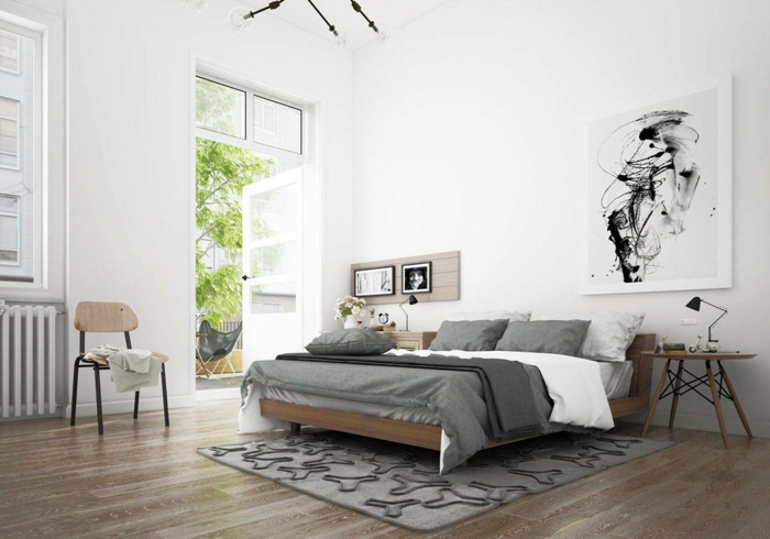 schlafzimmer einrichten beispiele skandinavisch grauer teppich bettwäsche weiße wände