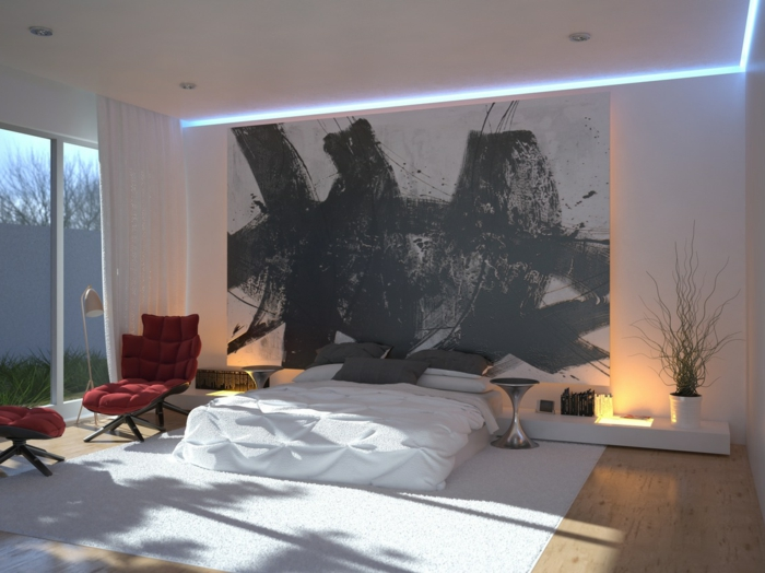schlafzimmer einrichten beispiele weißer teppich roter relaxsessel ...