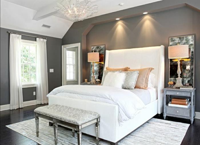 schlafzimmer einrichten beispiele weißes bett heller teppich graue wände