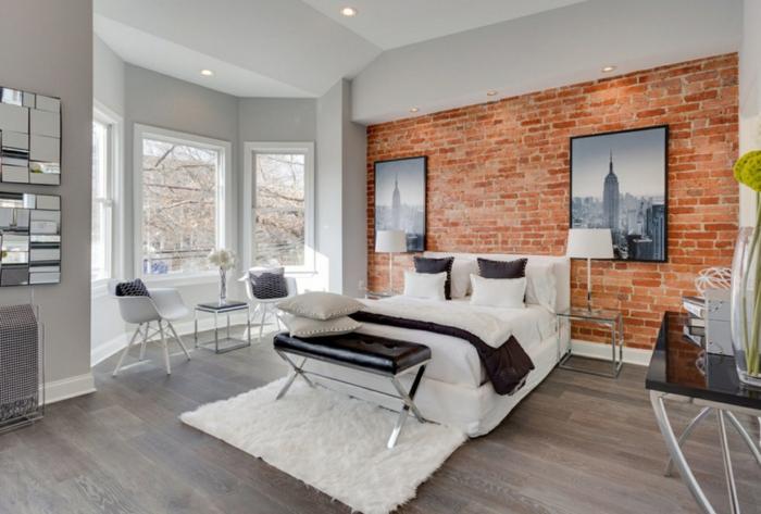 schlafzimmer einrichten beispiele ziegelwand weißer teppich hellgraue wände