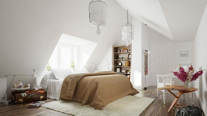 schlafzimmer weiß dachschräge weißer teppich vintage koffer