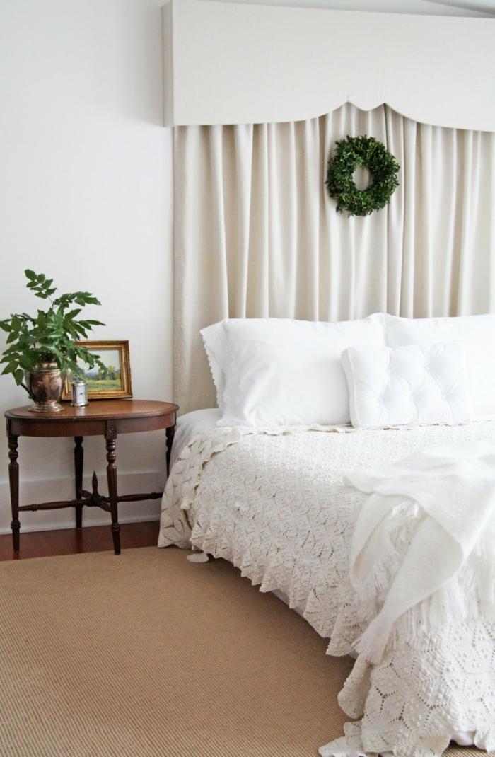 schlafzimmer weiß dekoideen pflanze stilvolle gardinen
