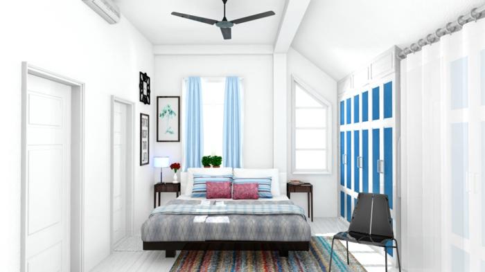 schlafzimmer weiß farbiger teppichläufer blaue gardinen