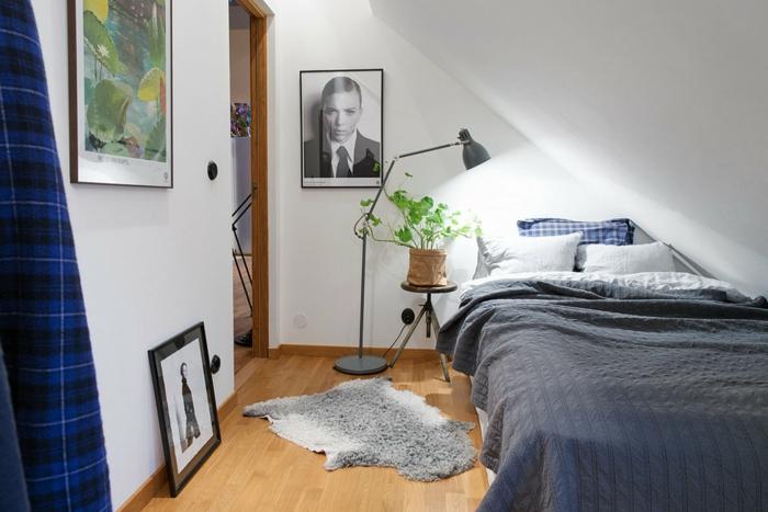 schlafzimmer weiß fellteppich pflanze dekoideen