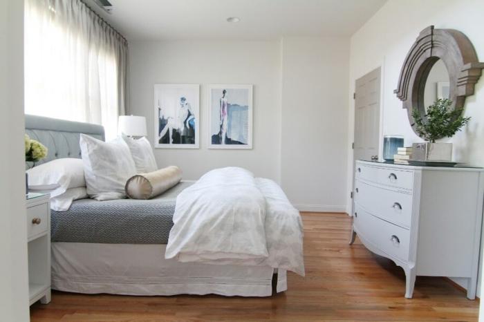 schlafzimmer weiß gardinen hellgraue kommode pflanzen