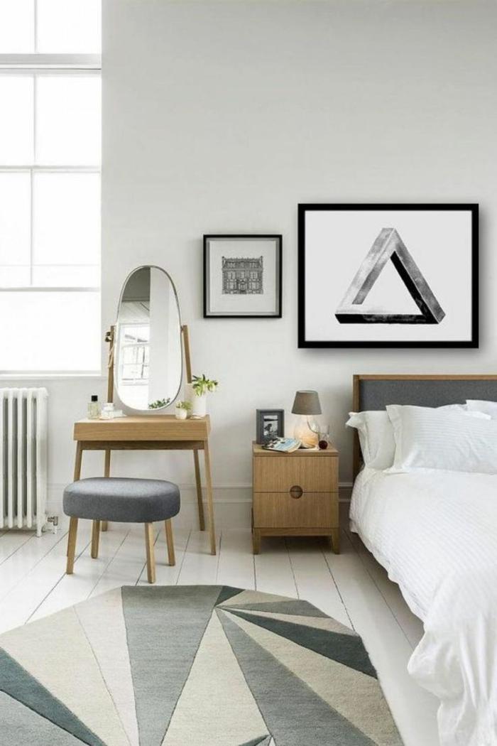 schlafzimmer weiß geometrischer teppich weiße bettwäsche schminktisch