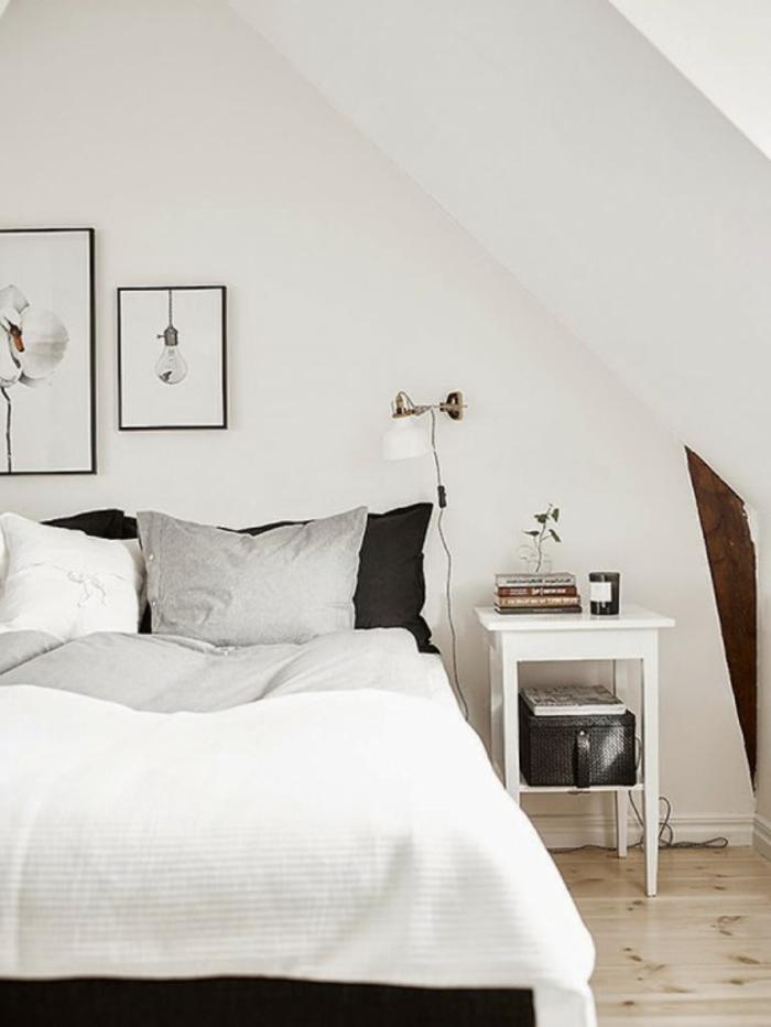 schlafzimmer weiß holzboden wandleuchte wanddeko