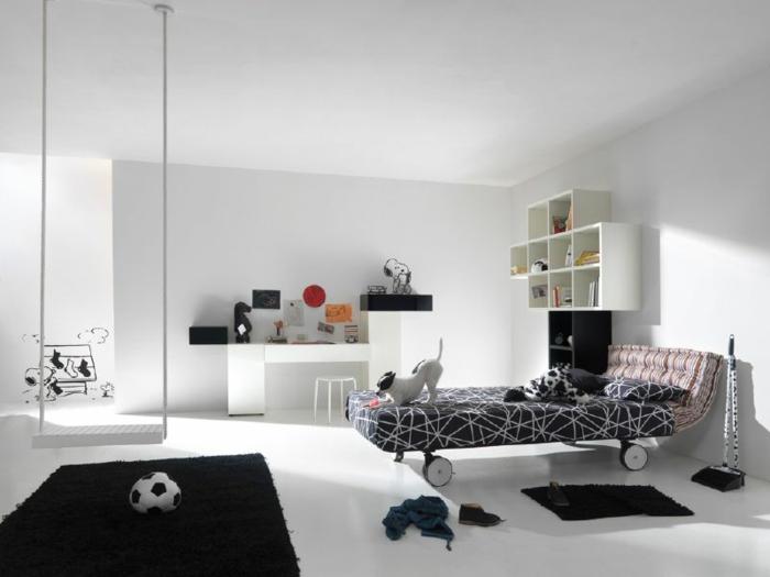schlafzimmer weiß kinderzimmer ideen schwarze akzente