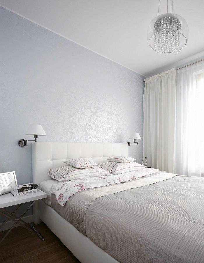 schlafzimmer weiß luxuriöse wandtapete dunkler boden