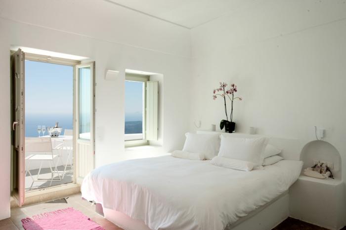 schlafzimmer weiß mädchenzimmer rosa akzente