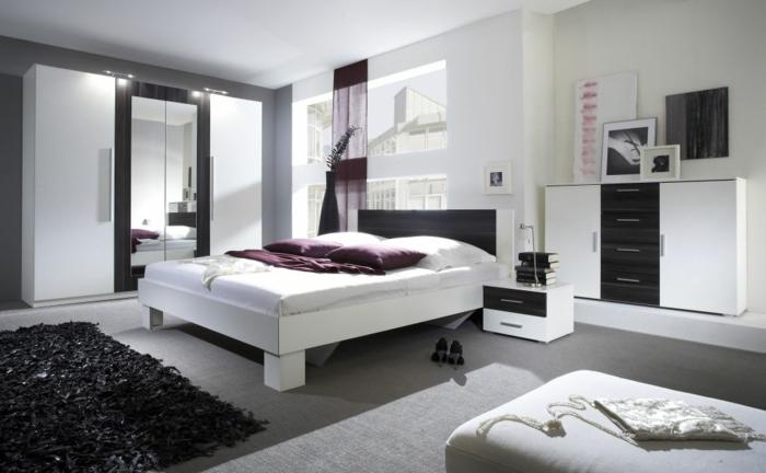 schlafzimmer weiß schwarzer teppich männlich