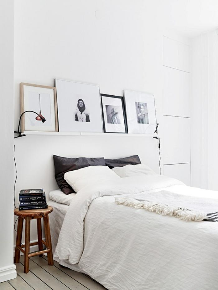 schlafzimmer weiß skandianvischer stil wandregal