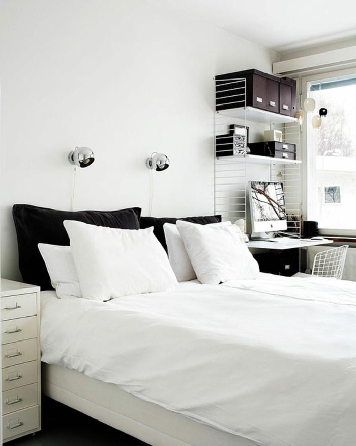 schlafzimmer weiß stauraum dunkler boden kleiner raum