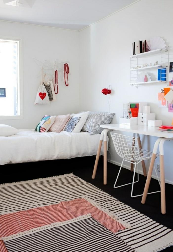 schlafzimmer weiß streifenteppiche kinderzimmer