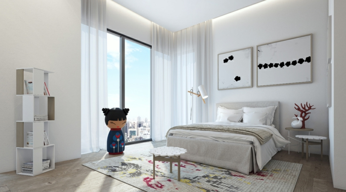 schlafzimmer weiß teppich regale dekoideen luftige gardinen