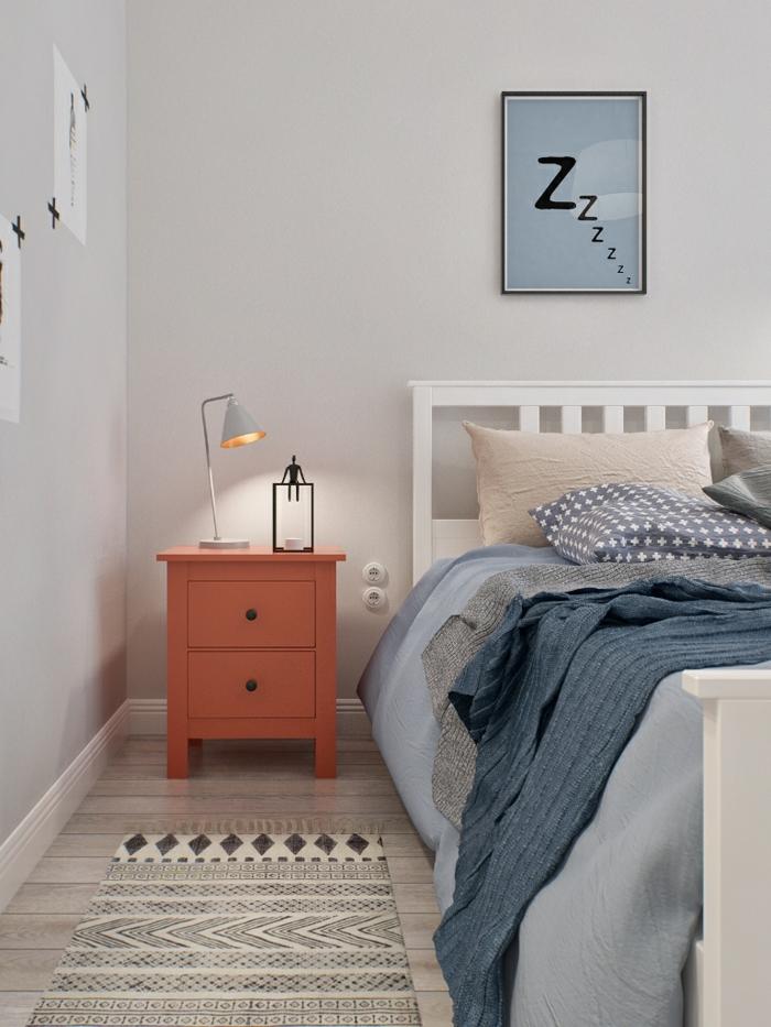 schlafzimmer weiß teppichläufer beleuchtung wanddeko